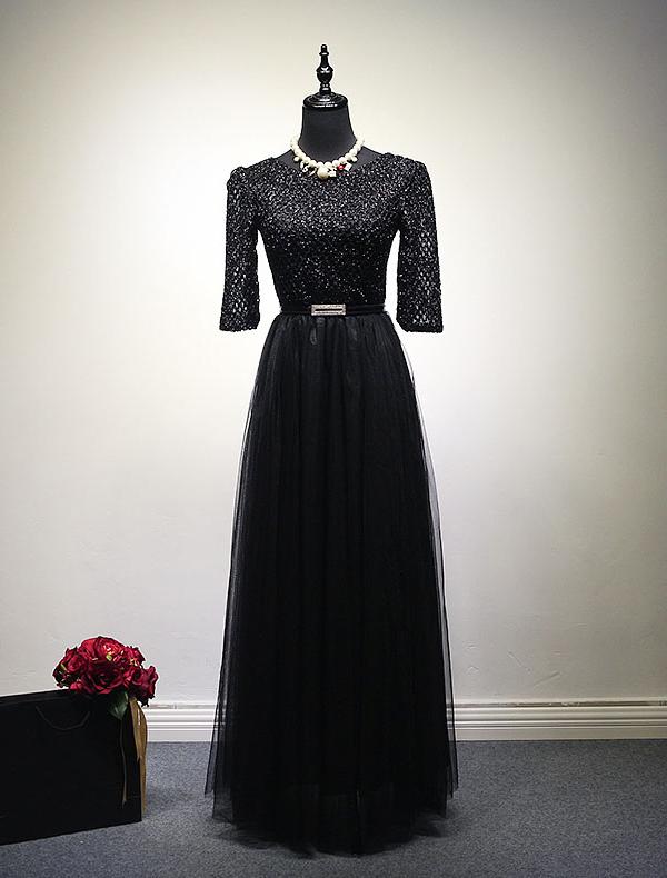 evening dress 2016 scoop neck glitter lace black