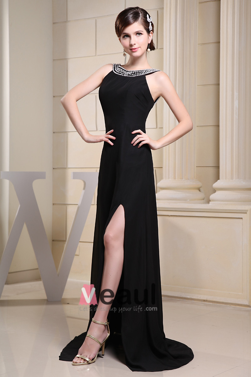 Fashion Chiffon Charmeuse Silk Beaded Crew Neck Court Train Sleeveless Women Evening Dress