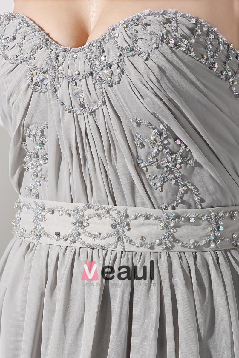 Fashion Chiffon Charmeuse Silk Ruffle Beaded Rhinestones Court Train Sweetheart Women Evening Dress