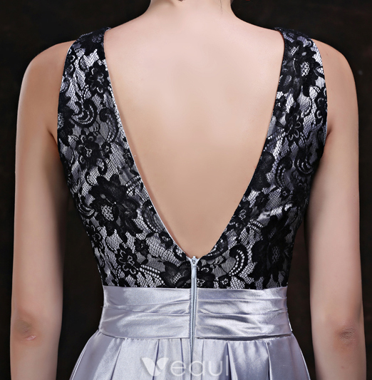 Fashion Evening Dresses 2016 A-line Scoop Neckline Black Lace Ruffle Silver Satin Backless Dress