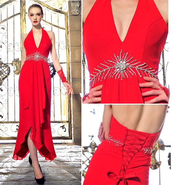 Fashion Halter V-neck Beading Rhinestone Crystal Backless Red Chiffon Evening Dress
