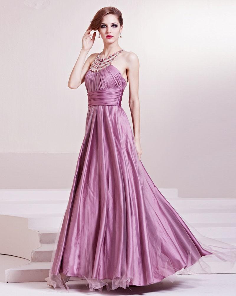 Fashion Satin Charmeuse Gauze Beaded Halter Floor Length Evening Dress
