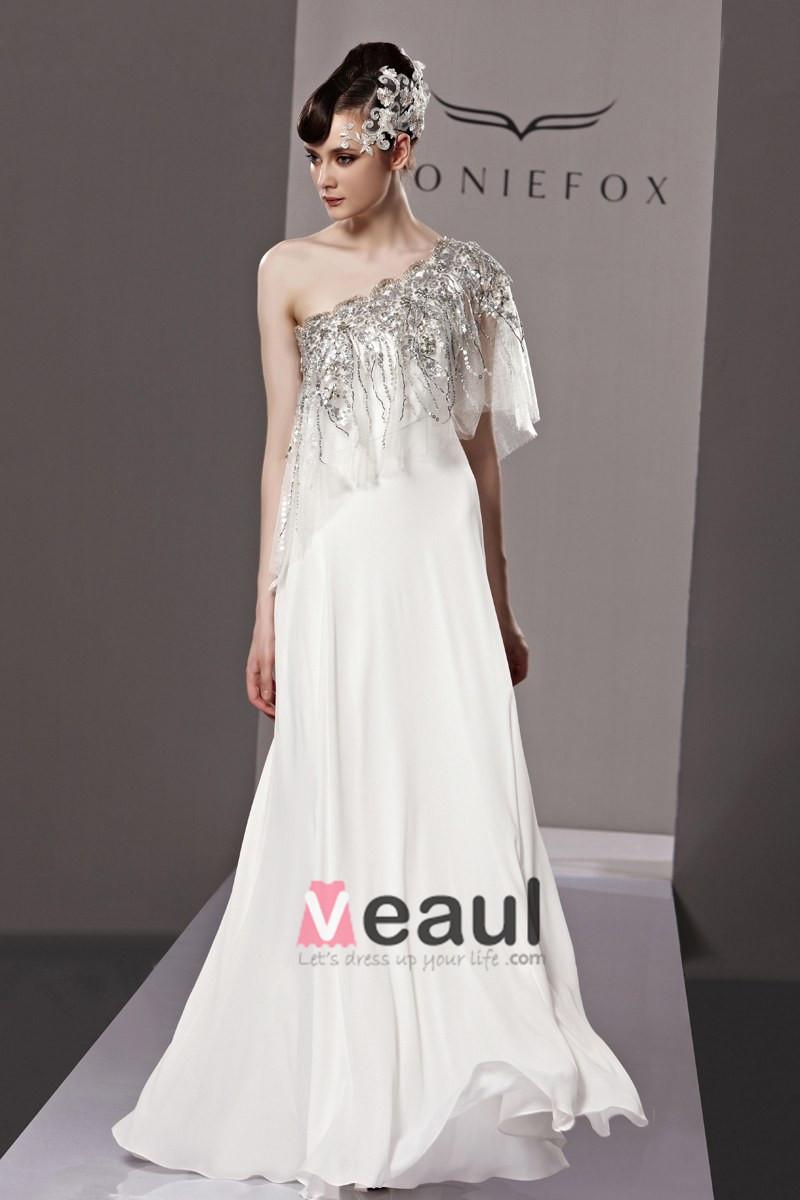 Fashion Sloping Floor Length Beading Chiffon Evening Dress