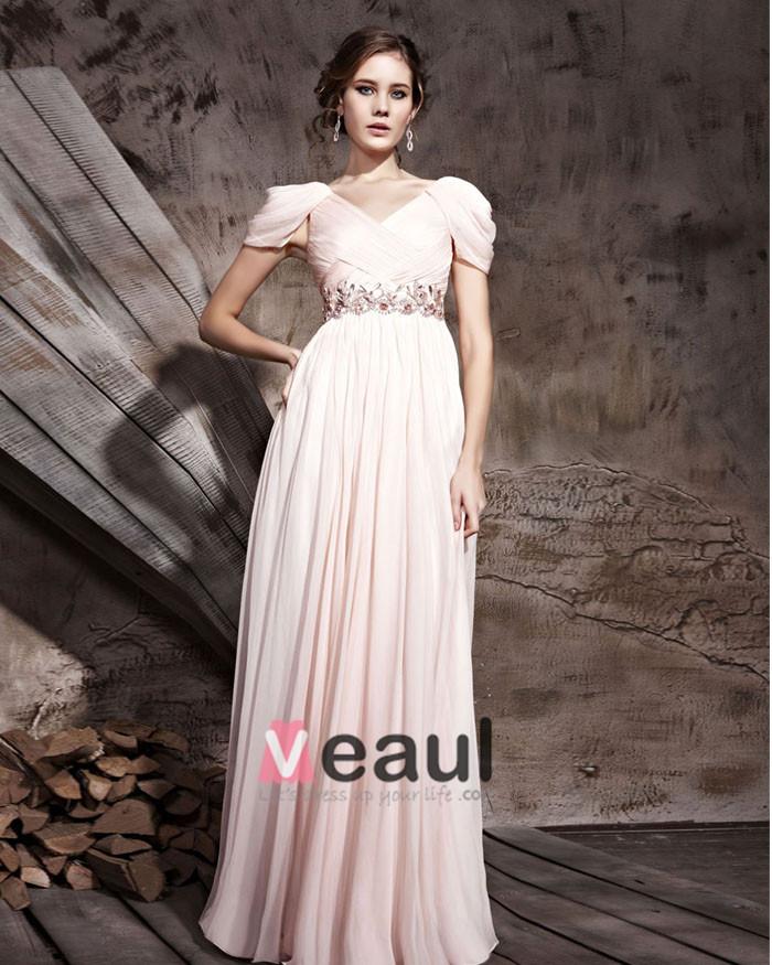 Floor Length Tencel V-Neck Zipper Short Sleeve Evening Dresses