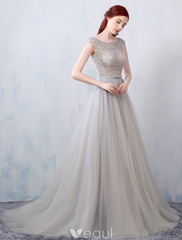 Glamorous Evening Dresses 2016 A-line Beading Pierced Design Grey Lace Tulle Backless Dress