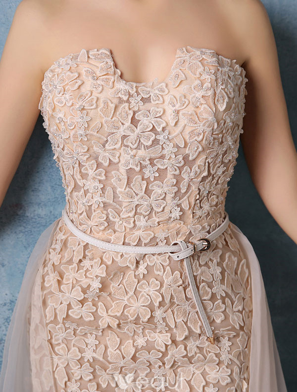 Glamorous Evening Dresses 2016 Strapless Champagne Lace Evening Dress With Organza Tailing