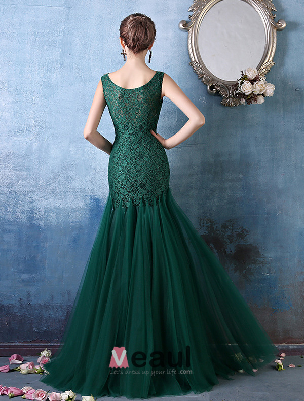 Glamorous Square Neckline With Metal Chain Green Lace Organza Evening Dress
