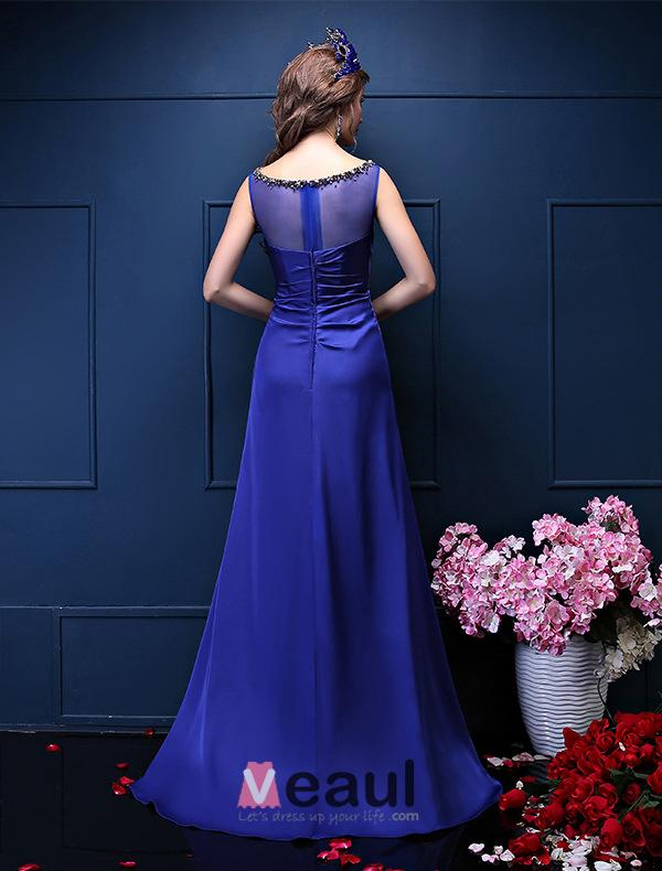 Glitter A-line Square Neckline Beading Crystal Sash Ruffle Royal Blue Satin Evening Dress