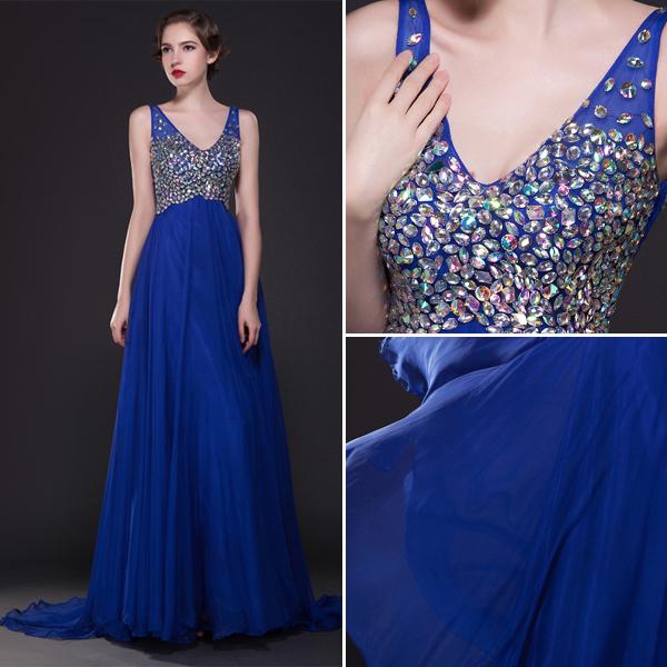 Glitter Crystal Rhinestone V-neck Backless Floor-length Long Royal Blue Evening Dress