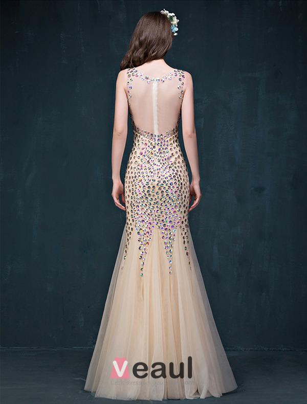 Glitter Trumpet / Mermaid V-neck Beading Rhinestone Backless Champagne Evening Dress/ Prom Dress