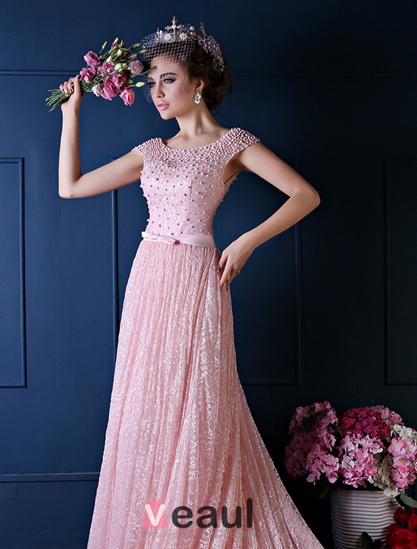 Luxury A-line Square Neckline Beading Pearl Silk Lace Pink Evening Dress