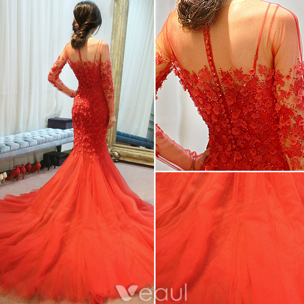 Mermaid Evening Dresses 2016 Applique Flowers Red Tulle Backless Long Formal Dress With sleeves