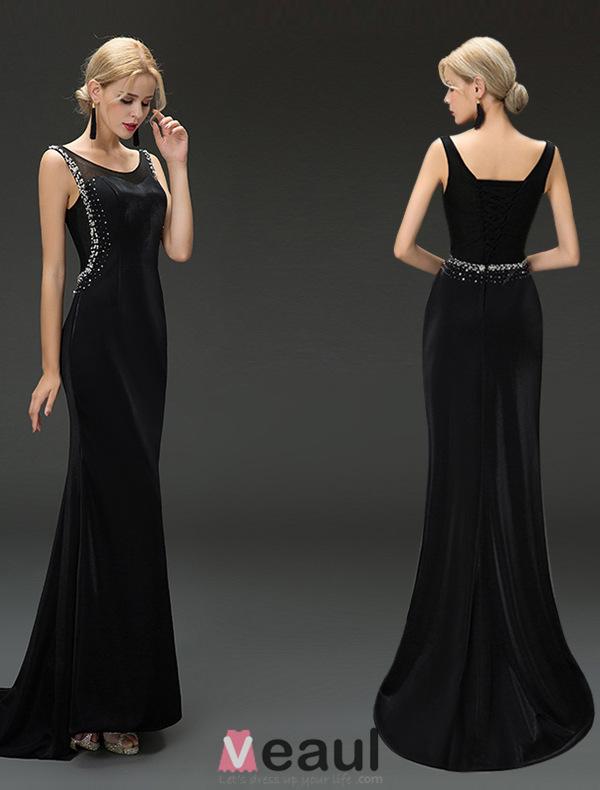 Mermaid Scoop Neckline Beading Sequins Rhinestone Backless Black Evening Dress