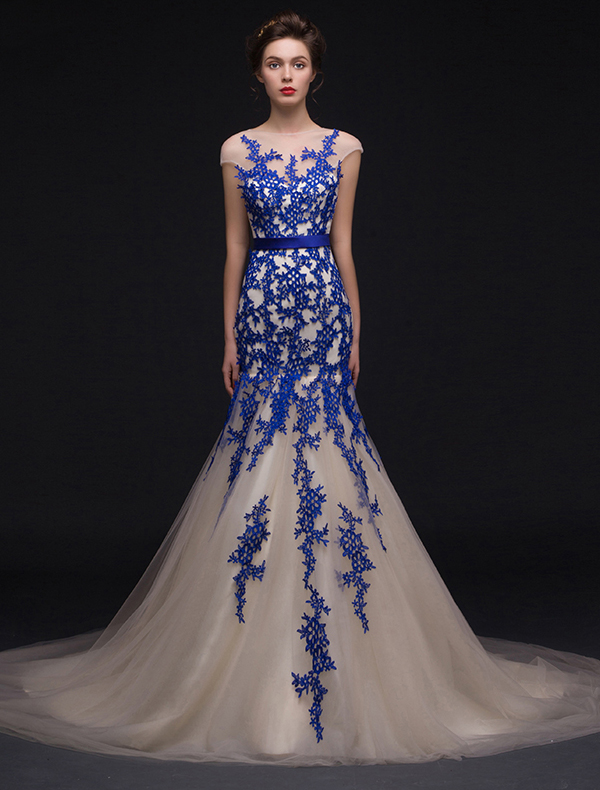 Mermaid Square Neckline Royal Blue Lace Champagne Organza Evening Dress