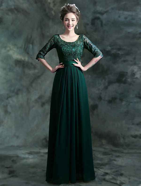 Modest Long Lace Evening Dress Dark Green Formal Dress With Sleeves
