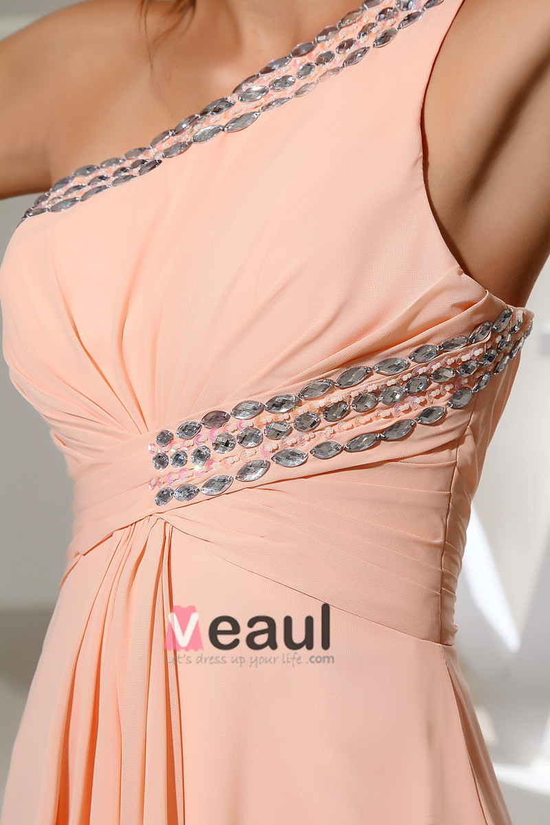 One Shoulder Backless Sleeveless Beading Ruffle Floor Length Chiffon Silk Woman Evening Dress