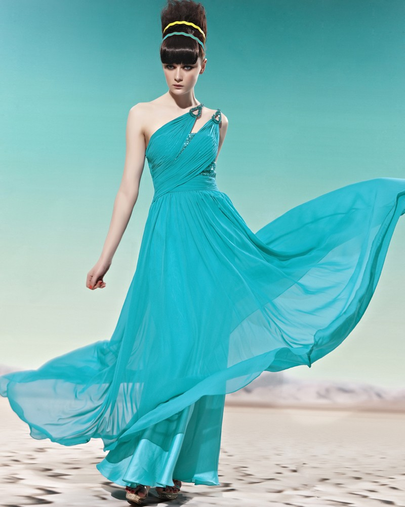 One Shoulder Beading Ruffle Sleeveless Backless Floor Length Charmeuse Woman Evening Dress