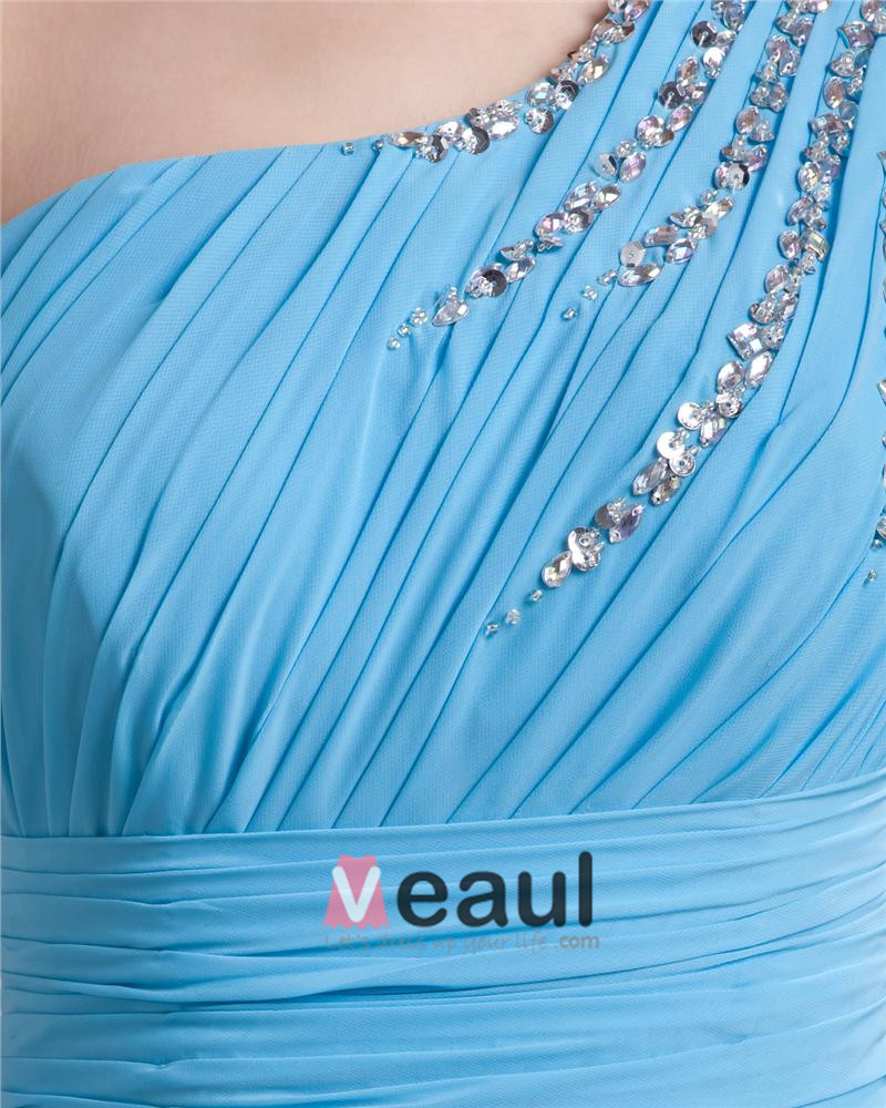 One Shoulder Floor Length Pleated Beading Chiffon Woman Evening Dress