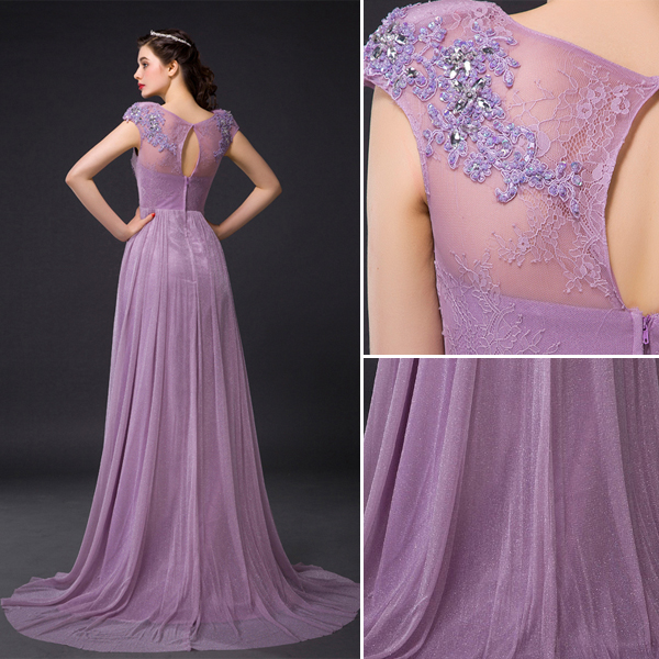 Princess Empire Pierced Crystal Applique Lace Diamond Silk Purple Evening Dress