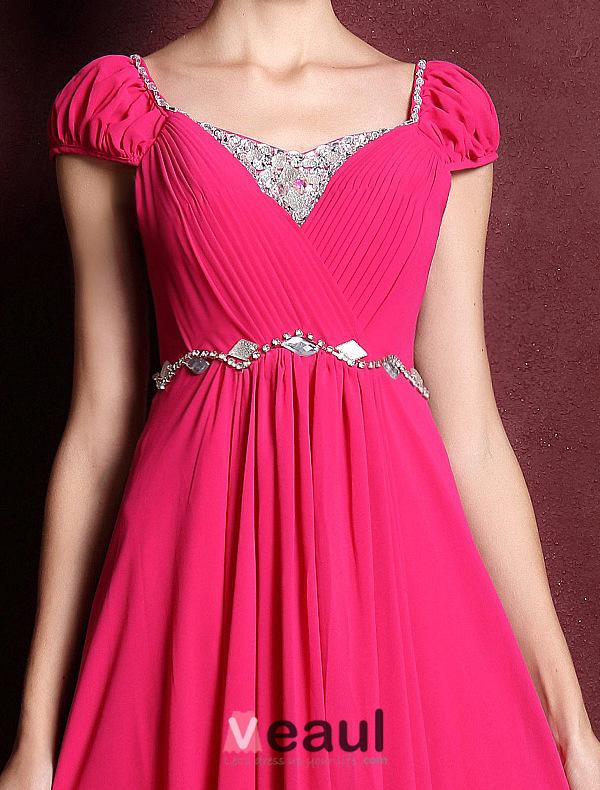 Princess Sleeves Beading Rhinestone Crystal Ruffle Chiffon Maxi Evening Dress