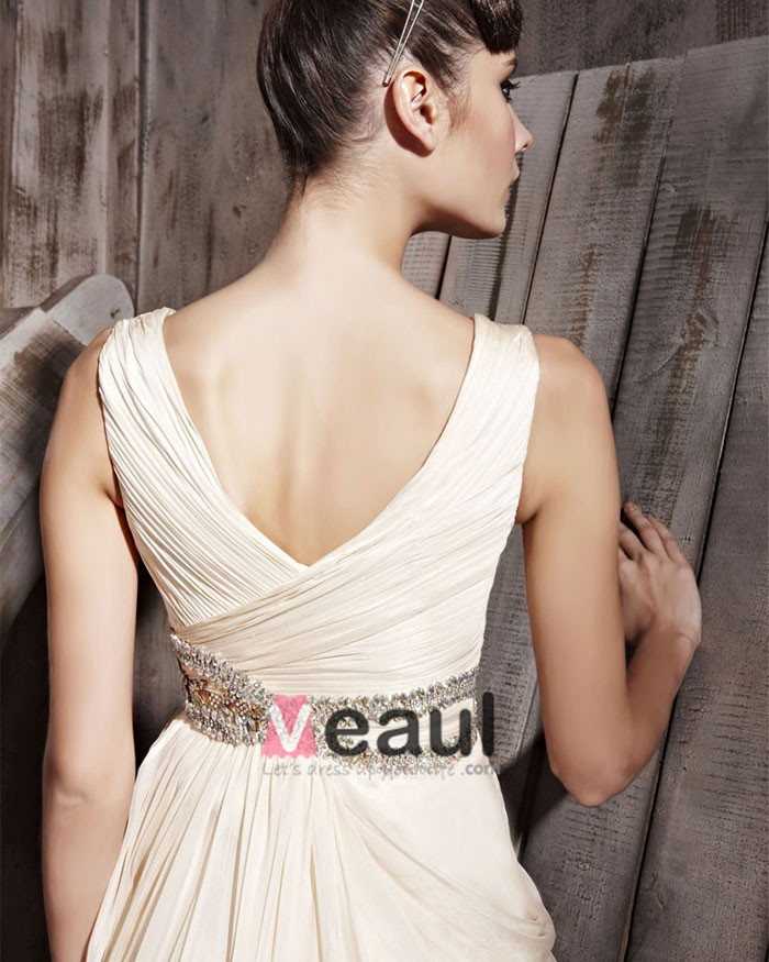 Retro Floor Length V-Neck Tencel Sleeveless Zipper Evening Dresses