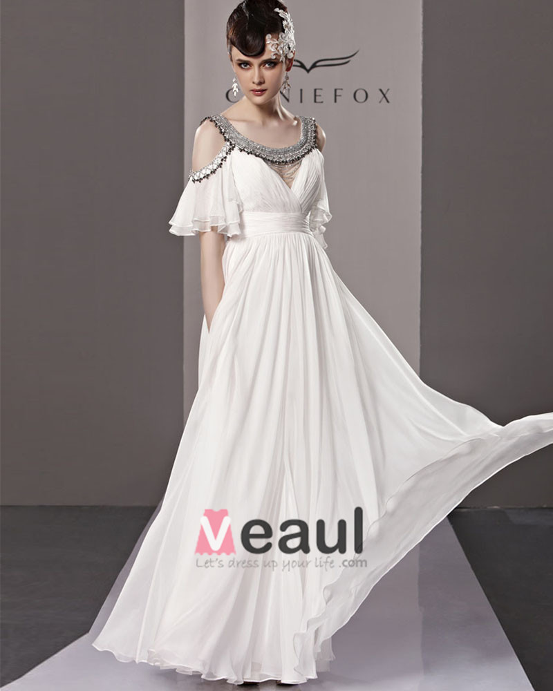 Round Neck Off Shoulder Layered Short Sleeve Zipper Floor Length Empire Tencel Woman Evening Dress
