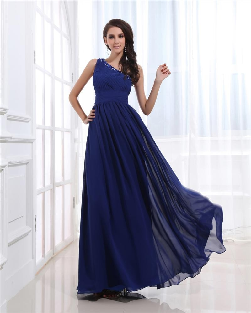 Ruffle beaded Chiffon One Shoulder Ankle Length Plus Size Evening Dresses