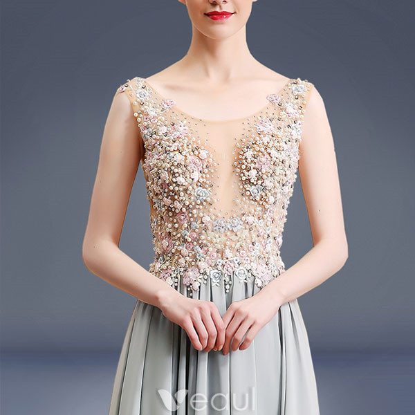 Sexy Evening Dress 2017 Beaded Pearl Backless Formal Gown