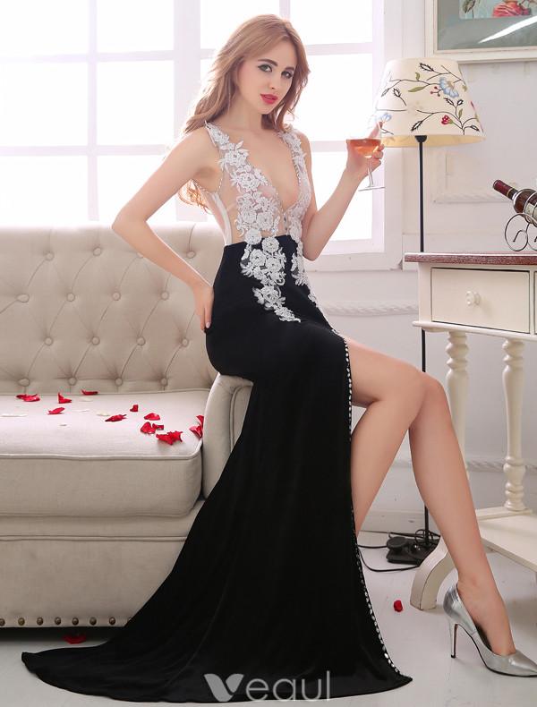 Sexy Evening Dresses 2017 Deep V-neck Applique White Lace With Black Poplin Split Front Dress