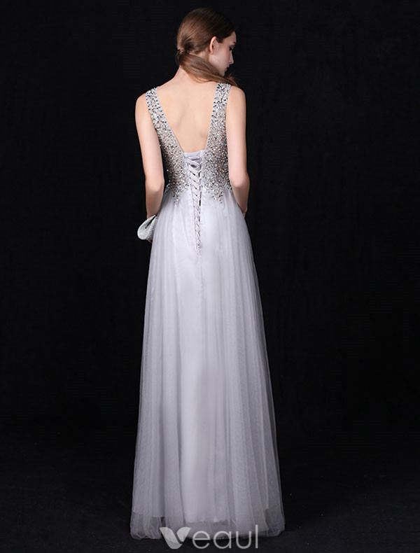 Sexy Long V-neck Evening Dress Grey Backless Formal Dress Beaded Sequins