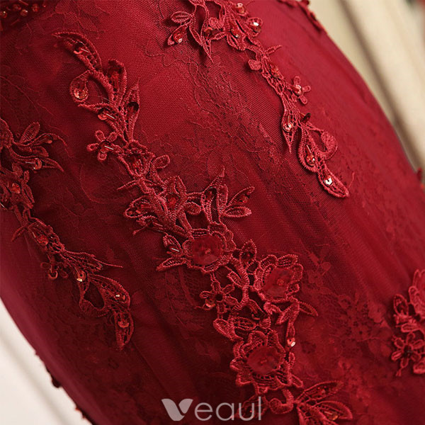 Sexy Mermaid Evening Dress 2017 Burgundy Lace Backless Formal Dress