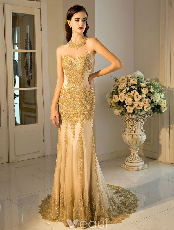Formal-Dresses-Evening-Dresses-Sexy-Mermaid-Evening-Dress-2017-Gold ...