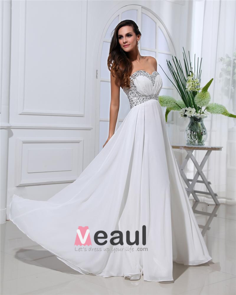 Sexy Ruffle Beading Chiffon Sweetheart Floor Length Evening Dresses