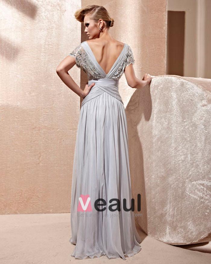 Silk Lace Charmeuse V-neck Bead Floor Length Evening Dress