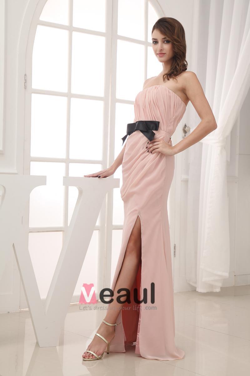 Silk Like Satin Chiffon Silk Bow Ruffle Strapless Sleeveless Backless Zipper Floor Length Evening Dress