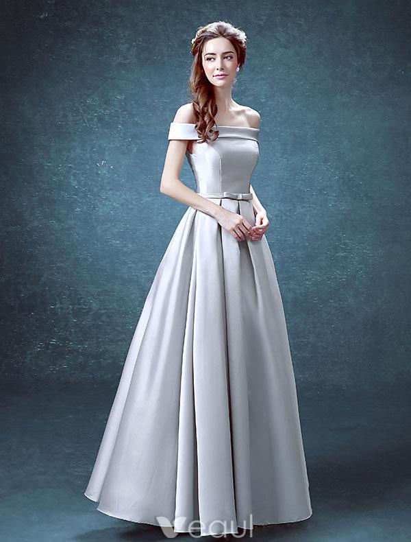 Simple Evening Dresses 2016 Square Neckline Ruffle Silver Satin ...