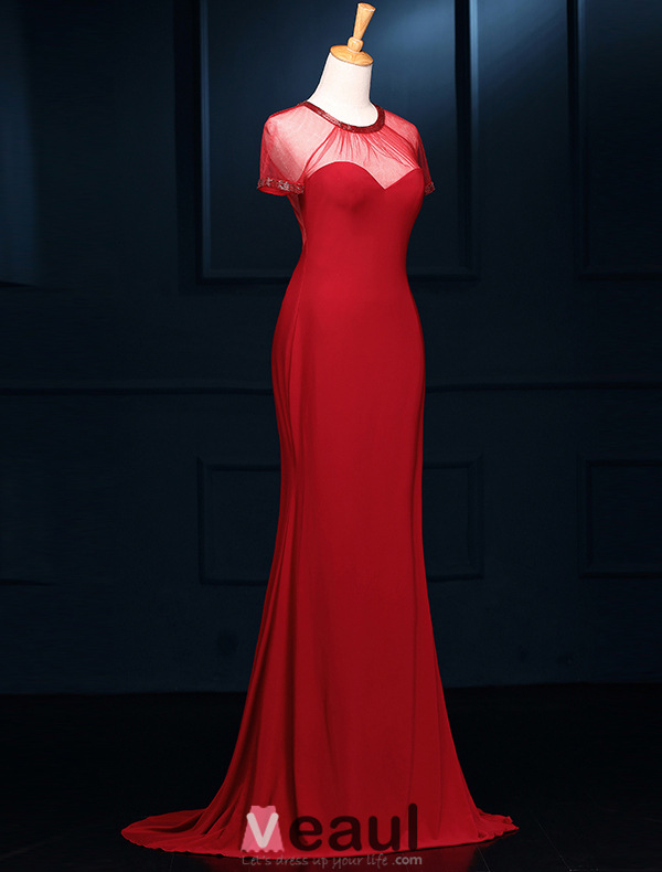 Simple Mermaid Beading Scoop Neckline Backless Red Tulle Evening Dress