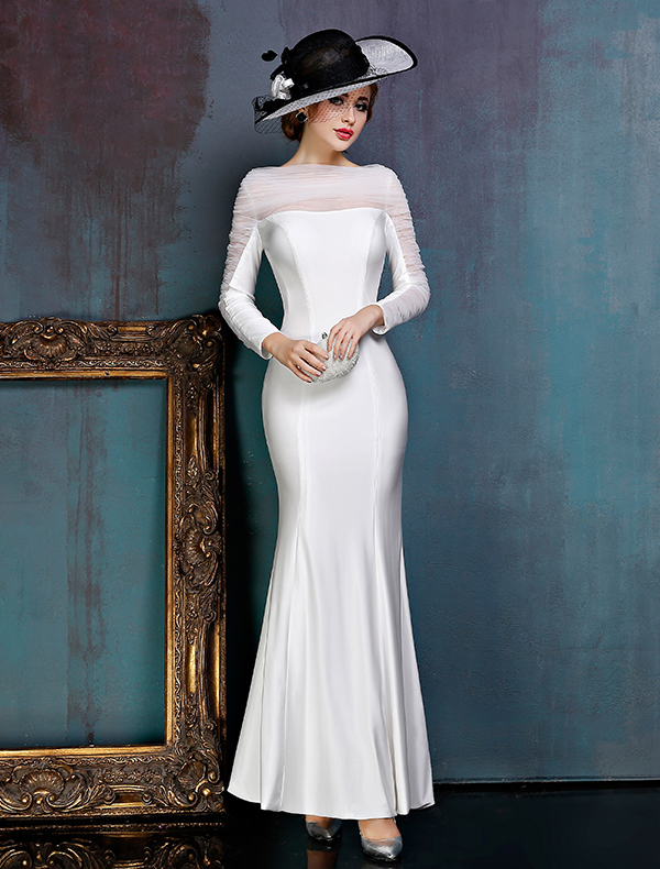 Simple White Evening Dress Satin Formal Dress With Ruffle Tulle