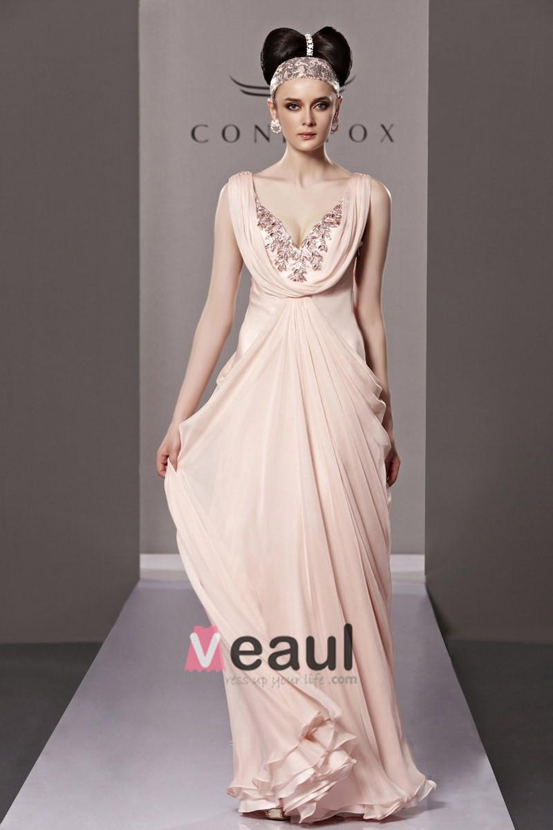 Slim Beading V Neck Floor Length Tencel Charmeuse Evening Dress