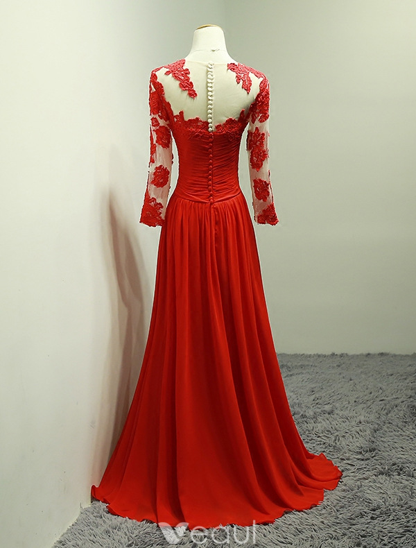Stunning Evening Dresses 2016 V-neck Applique Lace Ruffle Red Chiffon Long Dress With Sleeves