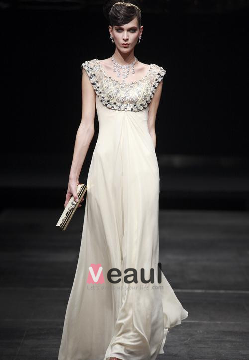 Stylish Silk Beading Scoop Floor Length Evening Dresses