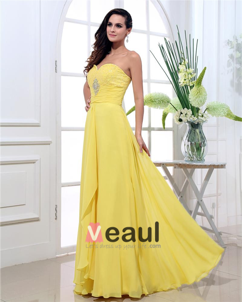 Sweetheart Chiffon Beading Pleated Floor Length Plus Size Evening Dresses