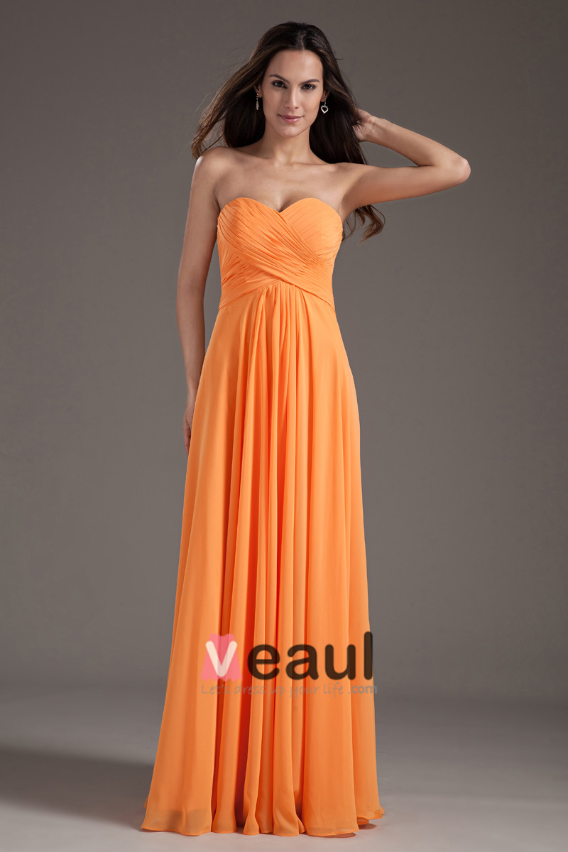 Sweetheart Pleated Chiffon Floor Length Woman Evening Dress