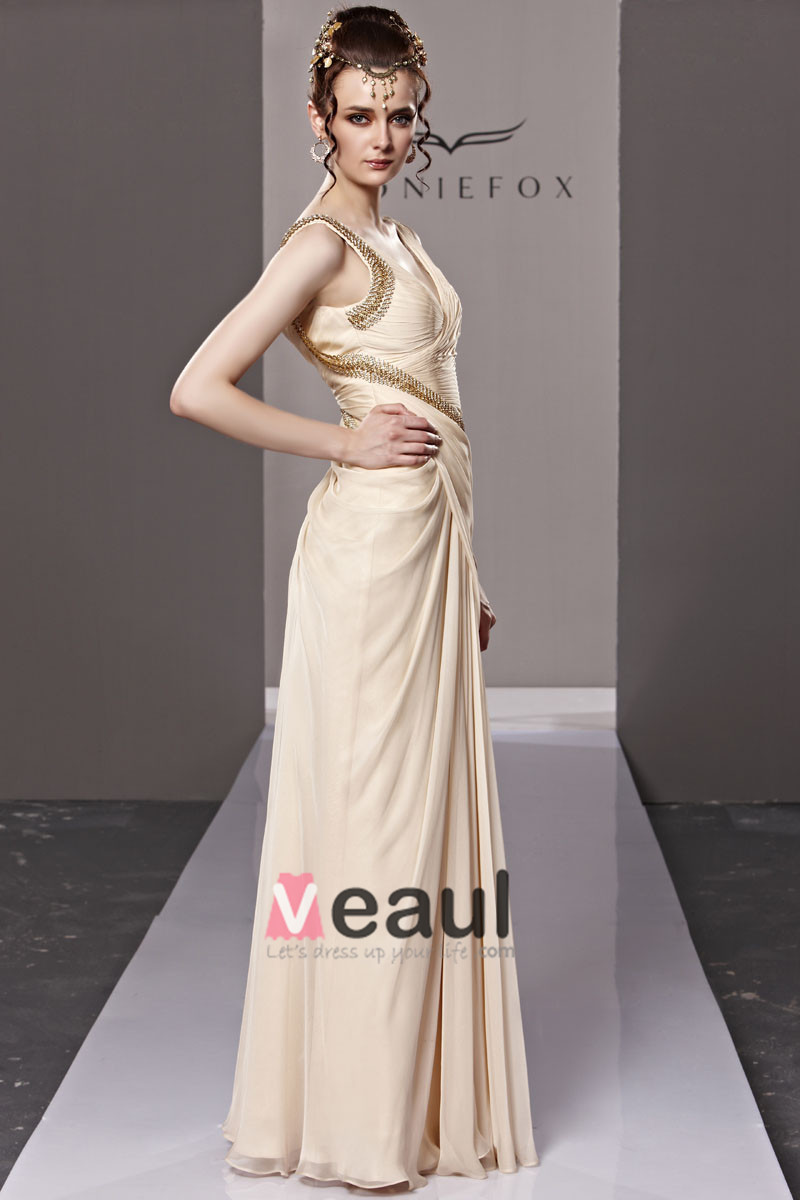 V Neck Ruffle Beading Sleeveless Zipper Floor Length Tencel Woman Evening Dress