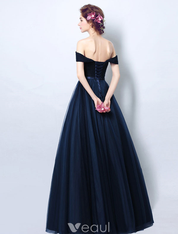 Vintage Navy Blue Evening Dress Pleated Tulle Off The Shoulder ...