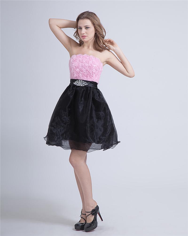 Crepe Strapless Knee-Length Graduation Dress