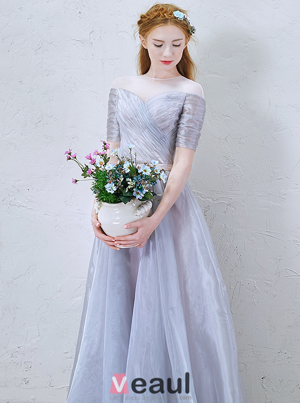 2016 A-line Scoop Neckline 1/2 Sleeves Backless Blue Grey Organza Party Dress With Sash