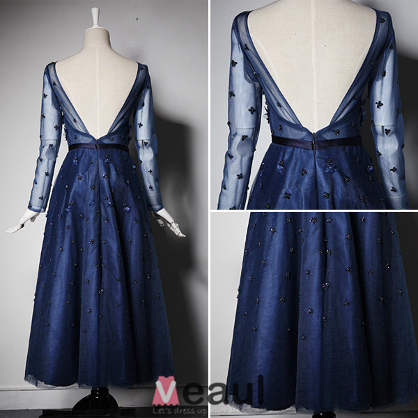 2016 Beautiful A-line Scoop Neck Tea Length Applique Flower Sequin Royal Blue Tulle Party Dress With Sash