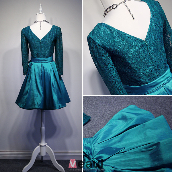 2016 Glamorous Scoop Neck Long Sleeves Backless Knee Length Party Dress With Bow Sash