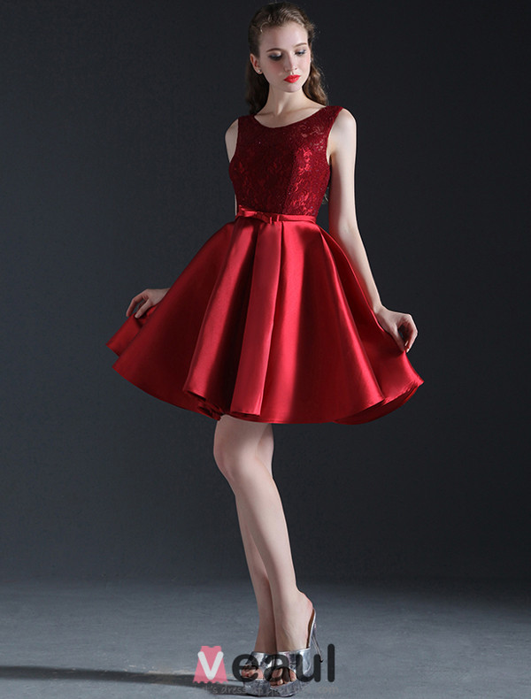 2016 Simple Scoop Neckline Lace Ruffle Burgundy Satin Cocktail Party Dress With Satin